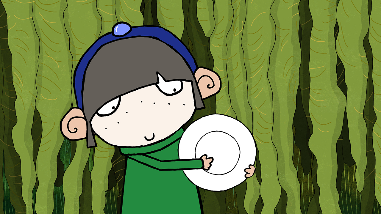 Picture Shows: Plate Girl squeaks her plate to speak to the lost plates.